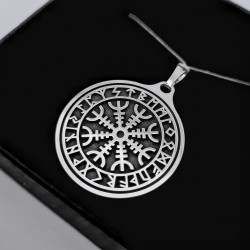 Kompas Wikingów AEGISHJALMUR z alfabetem runicznym - Zawieszka pełna- Slavieszki.pl